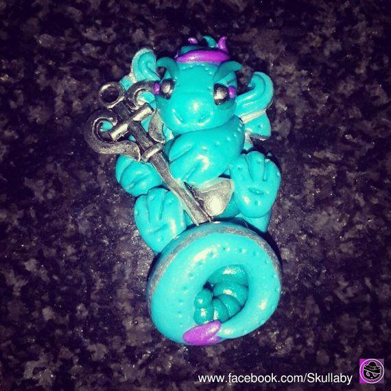 Little Dragon Key Keeper  Fantasy  Miniature  by Skullaby on #Etsy #forsale #claycreation #clay #creating #polymerclaycharms #premoclay #premo #sculpting #collectables #skullaby #polymerclaycharm #sculpt #selling #sell #customorders #dragons #polymerclay #dragon #littledragon #keepsake #fantasy