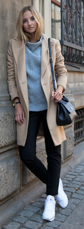 A high neck pullover is always a winner. Via Jess A. Sweater: Hexeline, Coat: Marie Lund Copenhagen, Sneakers: Reebok. http://www.justthedesign.com/150-casual-outfits-to-try-for-fall-when-you-have-nothing-to-wear/