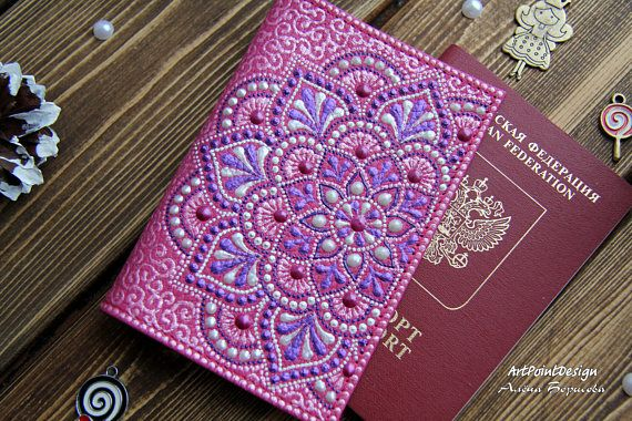 Pink passport case leather documnets cover gift womans