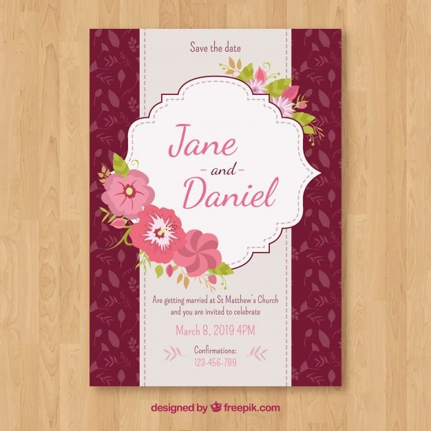 Download Wedding Invitation With Floral Ornaments In Flat Style For Free Wedding Invitations Invitations Vector Free