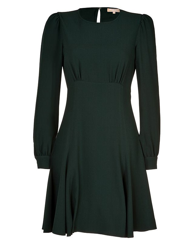A pretty choice for day to night, Michael Kors' emerald-hued dress features flattering long sleeves and a feminine flared skirt #Stylebop