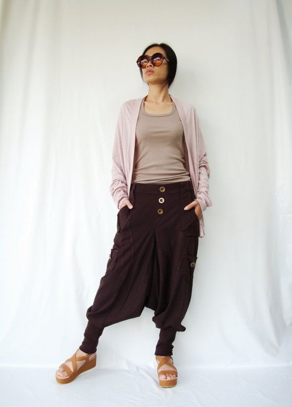 NO.95    Brown Cotton Jersey Casual Harem Pants Unique Pockets Drop-Crotch Trousers on Etsy