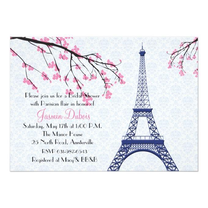 Springtime in Paris Bridal Shower Invitation