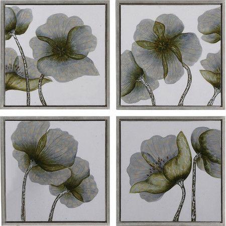 Floral canvas wall art set set of 4