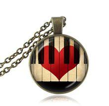 Colar declaração de coração vermelho colar música de piano do vintage jóias da moda preto e branco vidro teclado colares mulheres presentes(China (Mainland))