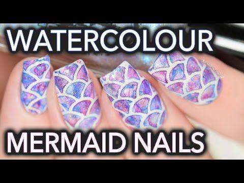Watercolour mermaid nail art SO EASY!! - http://www.nailtech6.com/watercolour-mermaid-nail-art-so-easy/