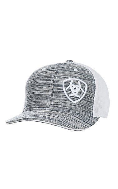 Ariat Heather Grey Embroidered Logo and White Mesh Snap Back Cap in ... 1e0c452af26c