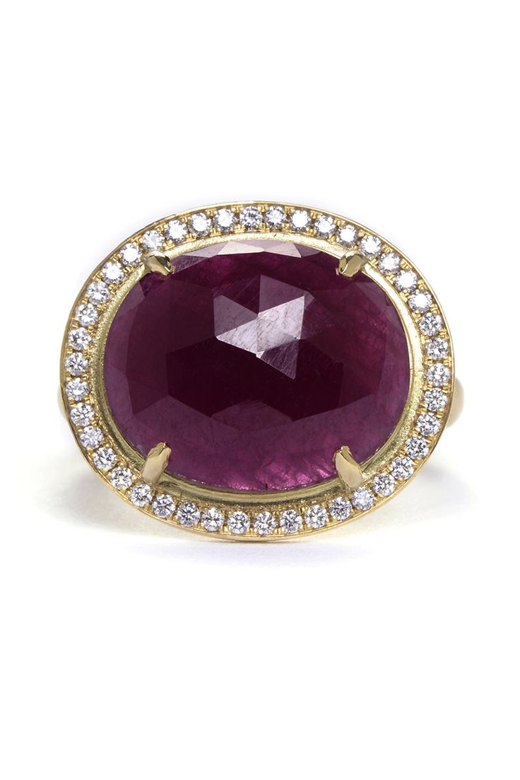 Anne Sportun Rose-Cut Ruby and Diamond Ring, $6,985; greenwichjewelers.com Courtesy of Companies  - ELLE.com