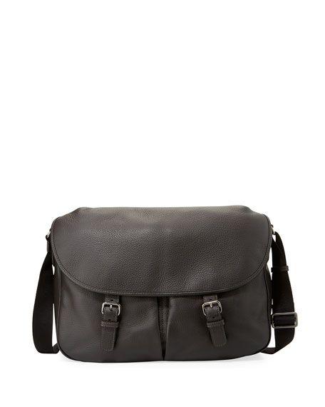 GIORGIO ARMANI MEN'S VITELLO LEATHER MESSENGER BAG, TAN. #giorgioarmani #bags #shoulder bags #leather #lining #