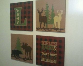 4 Canvas Custom Northwoods Theme Nursery And Kid S Room Decor Lumberjack Plaid Print Now Available From Www Bebescountrywedding