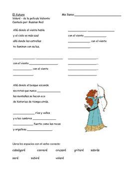 12 page Spanish packet on the future tense (el futuro).Includes:- Notes on the future/conditional tenses- MASH like activity that uses the l/ella form in the future- Fortune telling Easter egg activity that focuses on the t form in the future- Reading activity that uses comics and meme's from the Internet in the future tense- Song (Volar) from the Disney Movie Brave that focuses on the yo form in the future- battle ship game that uses all the forms of the future tense