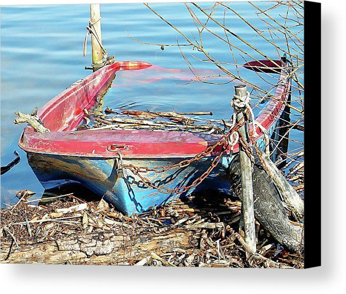 Boat Swamped At Lago Di Chiusi Canvas Print by Dorothy Berry-Lound.  #boating #boatfails #Tuscany