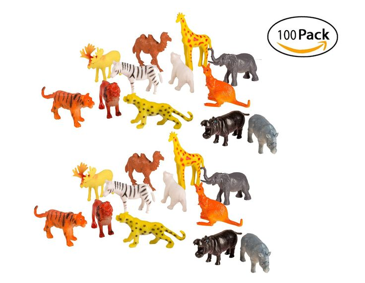 Amazon.com: 100 Piece Party Pack Mini Wild Jungle Animals - Plastic Mini Educational Jungle Animal Toys - Fun Gift Party Giveaway: Toys & Games