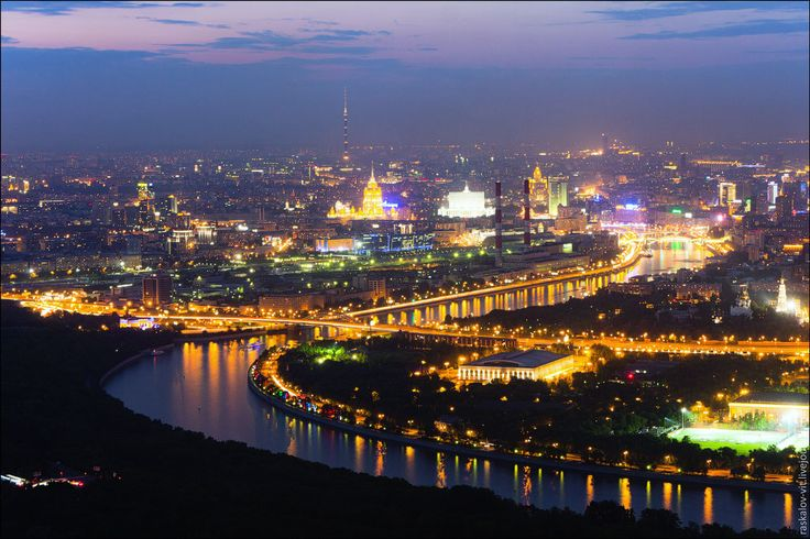 Moscow River and Ostankino Tower from the top of Moscow State University
