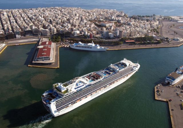 Cruise Ships Sailing Away from Greek Destinations