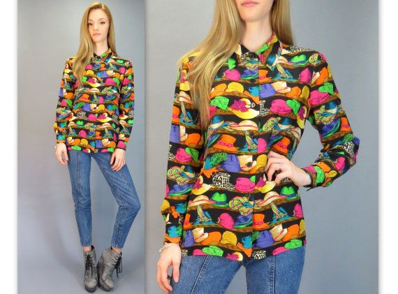 Vintage 90s Novelty Hat Print Silk Blouse Neon Long Sleeve Button Shirt Bright Fresh Prince Colorful Retro Top Hipster Adrianna Papell XS S