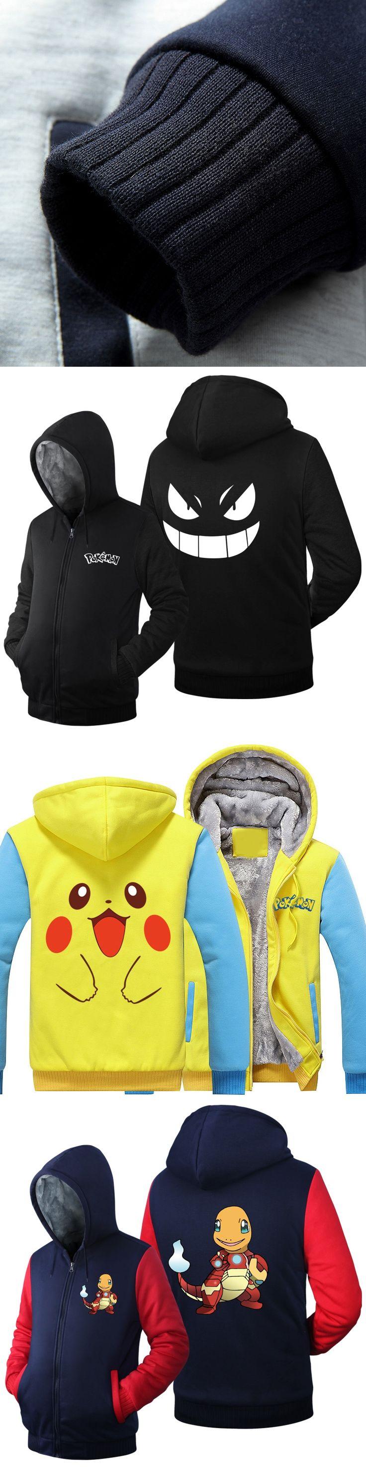 Pokemon Go Hoodies Anime Pikachu Gengar Cosplay Jacket Coat Cartoon Pocket Monster Winter Thick Zipper Sweatshirts For Men