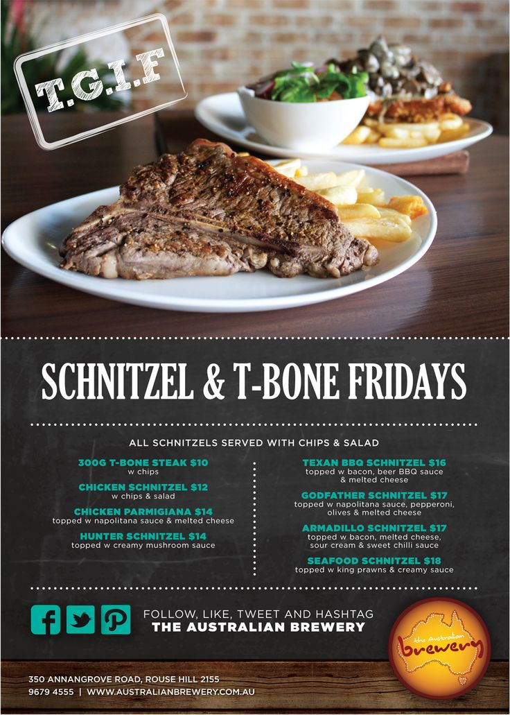 Friday specials @ The Australian Hotel and Brewery