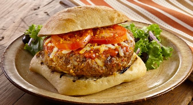 Grill Mates Backyard Brick Oven Seasoning add spicy heat to burgers. Add pizza sauce, mozzarella cheese and toppings to make it a pizza burger.