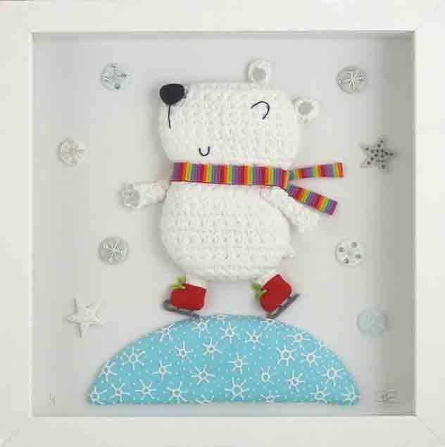 Beverley Edge - Polar Bear made from Polymer clay - box frame 25 x 25cm $75