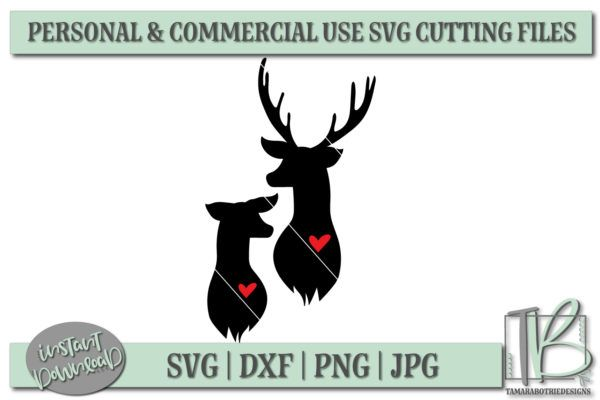 Download Deer Head SVG, Buck and Doe With Hearts SVG File ...