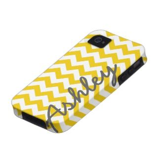Trendy Chevron Pattern with name - yellow gray iPhone 4 Covers