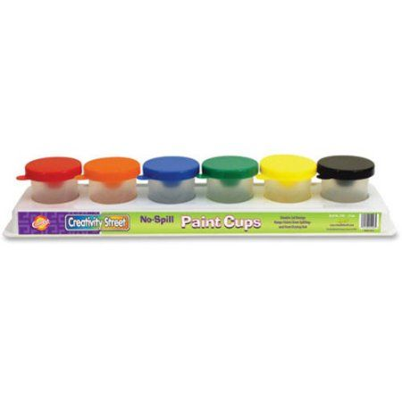 ChenilleKraft No-Spill Paint Cups in Multi Colored 6-Pack Tray, Assorted