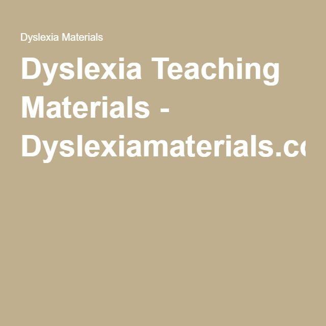 Dyslexia Teaching Materials - Dyslexiamaterials.com