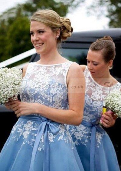 Organza Bridesmaid Dress A-Line/Princess Bateau Tea-Length With Appliqued