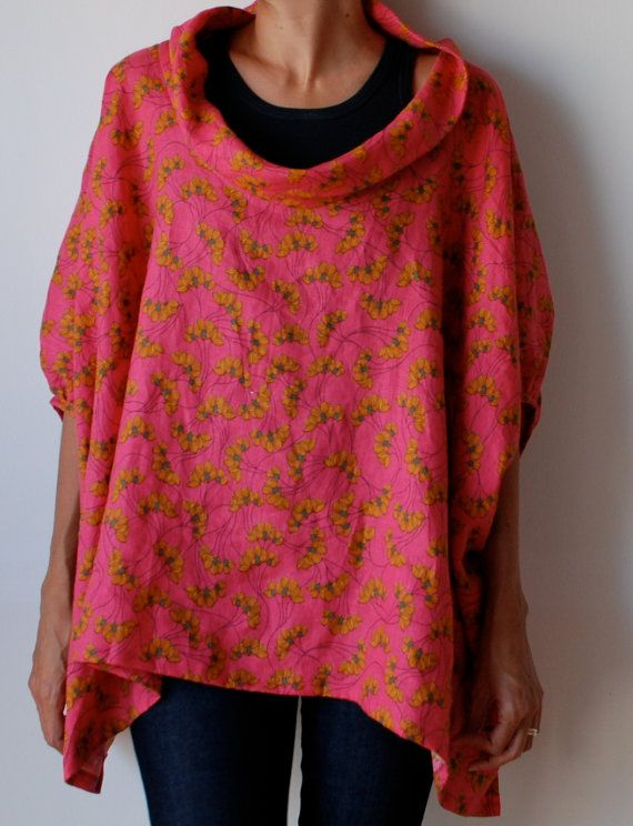 RESERVED FOR ANGELIQUE Pink loose fit linen smock by MuguetMilan