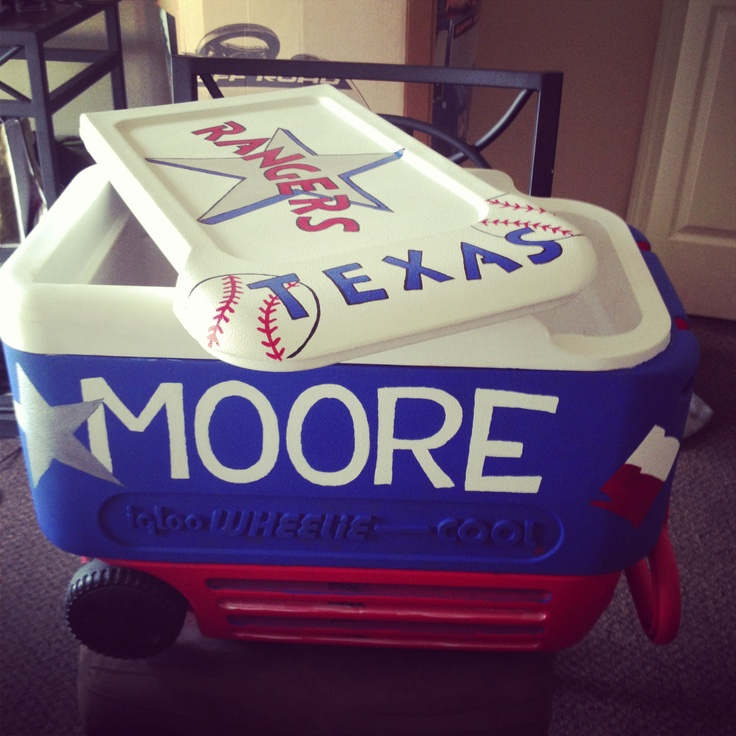Texas Rangers Painted Ice Chest! Missing the star but almost finished.