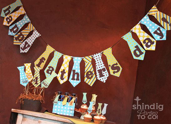 Father's Day Bunting Printable is so cute for a little family celebration of Dad — made by Shindig Parties To Go.