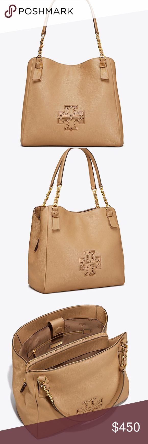 """Tory Burch Harper center zip tote handbag carmel Carmel color Holds a 10"""" tablet, a small umbrella, A4 paper, a continental wallet and an iPhone 6 Plus Pebbled leather Magnetic snap closure with center zipper compartment Leather-and-chain strap with 8.37"""" (21 cm) drop 1 interior zipper pocket, 1 snap pocket, 2 open pockets Height: 12.35"""" (31 cm) Length: 12.75"""" (32 cm) Depth: 6.37"""" (16 cm) Tory Burch Bags Totes"""