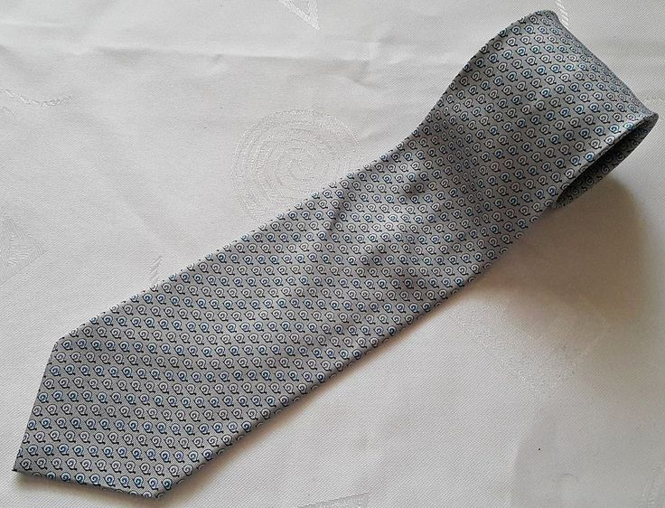 FRANCE-GENTS AUTHENTIC HERMES PARIS SNAIL GRAY SILK MEN'S NECK TIE-605823IA #Herms #NeckTie