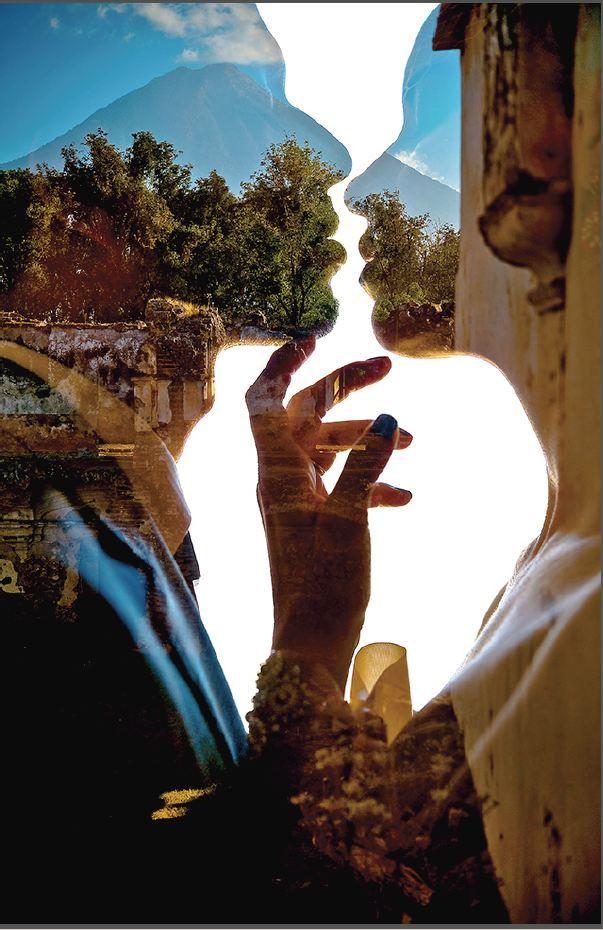 couple, scenery Double exposure
