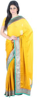 Vivacious yet sexy - yellow saree on sale online .Find out more on  42ka1.in
