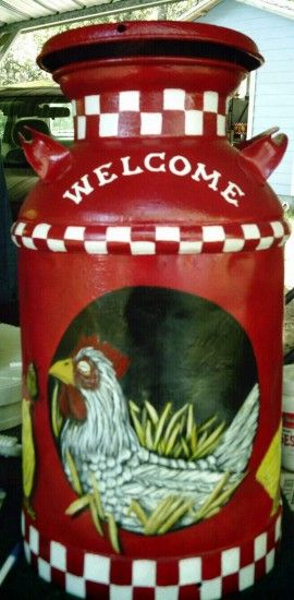 Like the red, the checkered pattern but not the chicken!  Will put a horseshoe lined with a barbed wire framing painted on around the bloack oval.