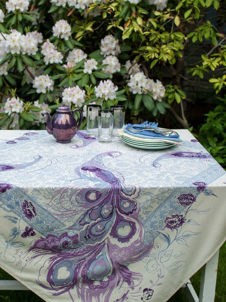Peacock Tablecloth | Shop All Collections, Table Linens & Kitchen, Perfectly Plum :Beautiful Designs by April Cornell