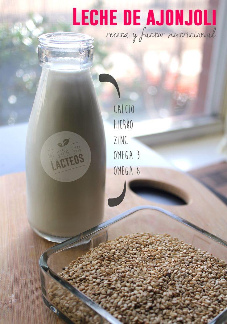 LECHE DE AJONJOLI⁑   Poner a remojar 1 taza de semillas de ajonjolí en agua en un recipiente hondo por un mínimo de 6 hrs o lo puedes dejar toda la noche. Enjuagar muy bien el ajonjolí con ayuda de un colador. Pasar el ajonjolí a la licuadora. Agregar de 3 a 4 tazas de agua, dependiendo de la consistencia que desees para tu leche y licuar hasta lograr una consistencia uniforme. Con ayuda de un colador de tela o un colador muy fino que tengas a la mano cuela tu mezcla.