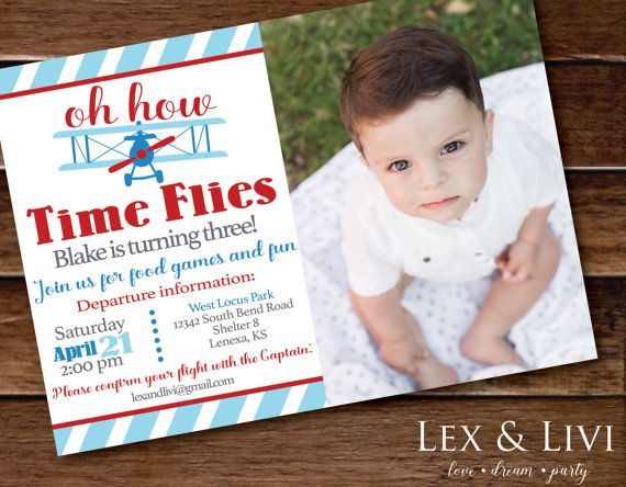 Party Pack! Time Flies Birthday Invitation with Photo  Airplane by LexandLivi