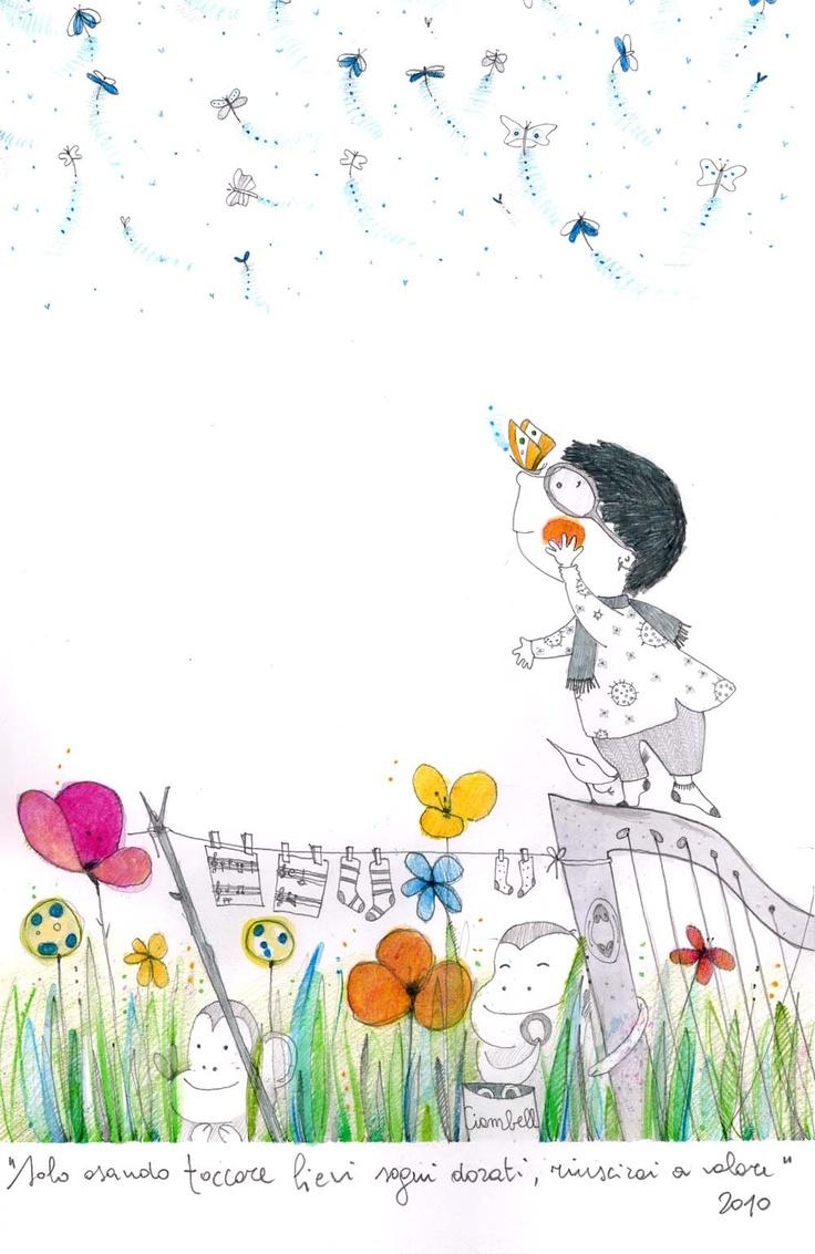 Cassandra e le farfalle - illustrazione per privati 2010