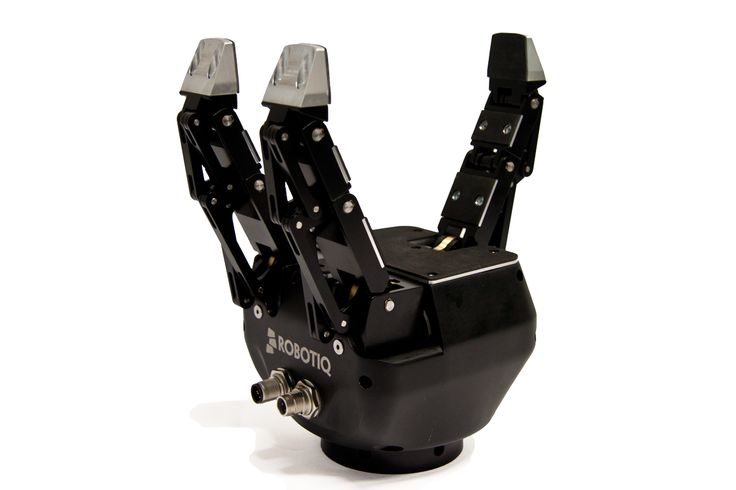 "http://robotiq.com/en/products/industrial-robot-hand Designed for applications dealing with a wide variety of parts, the 3-Finger Adaptive Robot Gripper represents a solution to improve process flexibility and consistency. This robotic hand gives ""hand-like"" capabilities to robot arms in advanced robotic applications and industrial automation such as robotic welding, machine loading/unloading, bin picking and research."