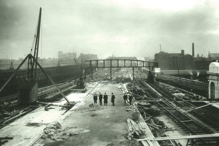 The new approach bridge over the Clyde, built 1901-05. The roof of the former Bridge Street station can be seen in the distance. Picture: Network Rail