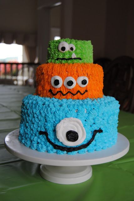 I could do this --but maybe make them three separate cakes and use the top as a smash cake This link has lots of monster bday party stuff :)