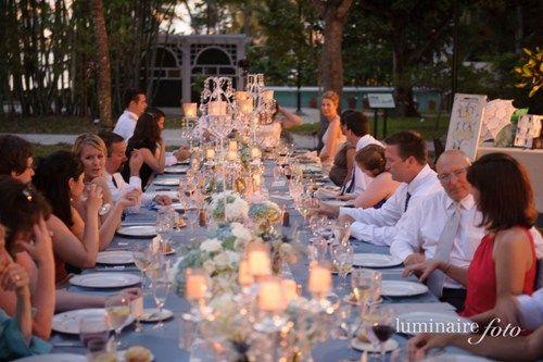 Courtney & Nicks Garden Wedding | Wedding Venue Ideas, family style dining, long reception tables, creative wedding seating, crystal candelabra, light blue