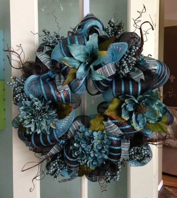 Teal blue and chocolate brown custom deco mesh wreath ...