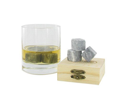 Whiskey Stones  Gift Set Of 9 Luxurious Scotch  Bourbon Soapstones Of The Highest Quality In A Wooden Box -- Click image to review more details. (Note:Amazon affiliate link)