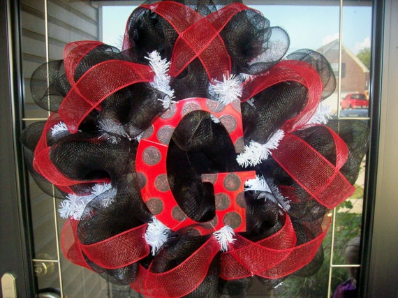 deco mesh wreath- This one's a UGA one, but change the colors for your fave school or alma mater.