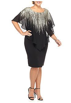 AGB Plus Size Plus Size Capelet Overlay Dress
