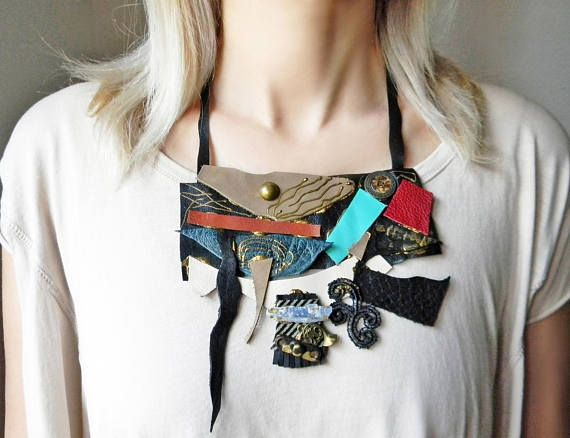 Leather collage bib necklace with blue raw kyanite crystal
